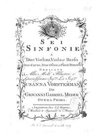 6 Symphonies, Op.1 (Sei Sinfonie a Due V... Volume Op.1 by Meder, Johann Gabriel