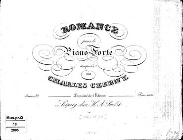 Romance, Op.70 : Complete Score Volume Op.70 by Czerny, Carl