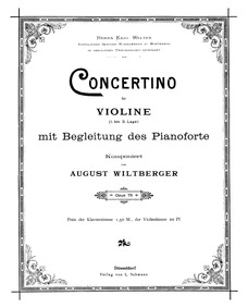 Violin Concertino, Op.75 : Complete Scor... Volume Op.75 by Wiltberger, August