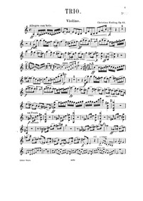 Piano Trio No.2, Op.64a : Violin Part Volume Op.64a by Sinding, Christian