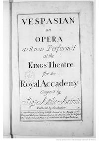 Vespasiano. Dramma per musica (Vespasian... by Ariosti, Attilio