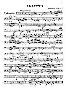 String Quartet No.5, Op.44 No.3 : Cello Volume Op.44 No.3 by Mendelssohn, Felix
