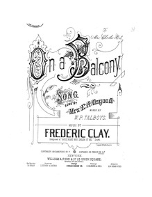 On a Balcony : Complete score (high voic... by Clay, Frederic Emes
