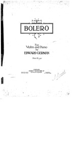 Bolero for Violin and Piano : Piano Scor... by German, Edward