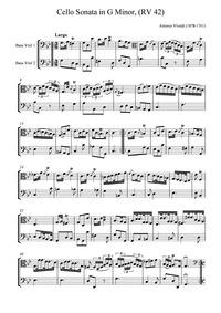 Cello Sonata in G minor, RV 42 : Complet... Volume RV 42 by Vivaldi, antonio