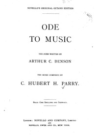 Ode to Music : Complete score by Parry, Charles Hubert Hastings