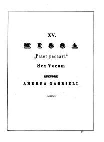 Missa Pater peccavi : Complete Score by Gabrieli, Andrea