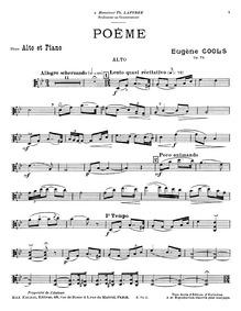 Poème, Op.74 : Viola part Volume Op.74 by Cools, Eugène