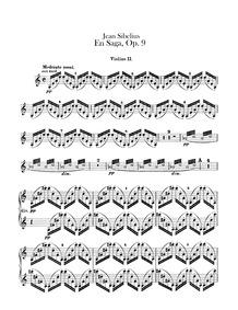 En Saga, Op.9 : Violins II Volume Op.9 by Sibelius, Jean