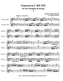 Concerto for 2 Trumpets in C major, RV 5... Volume RV 537 by Vivaldi, antonio