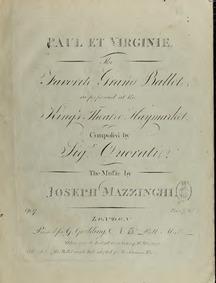Paul et Virginie (A Grand Ballet) : Comp... Volume Op.17 by Mazzinghi, Joseph