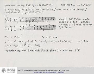 Violin Concerto, TWV 51:F3 : Complete Sc... Volume TWV 51:F3 by Telemann, Georg Philipp
