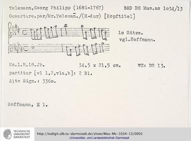 Ouverture-Suite, TWV 55:E1 : Complete Sc... Volume TWV 55:E1 by Telemann, Georg Philipp