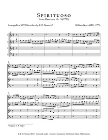 Overture No.3 : Complete Score (SATB rec... by Boyce, William