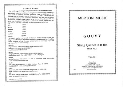 String Quartet, Op.16 No.1 : Complete Pa... Volume Op.16 by Gouvy, Louis Théodore