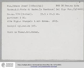 Canons in G minor, K.deest : Complete Sc... Volume K. deest by Fux, Johann Joseph