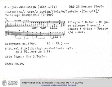 Sinfonia in G major, GWV 588 : Complete ... Volume GWV 588 by Graupner, Christoph