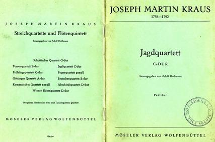 String Quartet in C major (Jagdquartett)... Volume VB 178 by Kraus, Joseph Martin