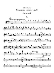 Symphonic Dances, Op.64 : Clarinet 1, 2 ... Volume Op.64 by Grieg, Edvard