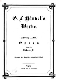 Radamisto, HWV 12 : Complete Score Volume HWV 12 by Handel, George Frideric