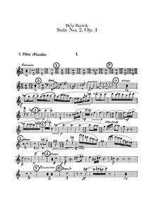Suite No.2, Op.4 : Flute 1, 2 (1st doubl... by Bartók, Béla