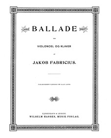 Ballade in C minor : Piano Score and Cel... by Fabricius, Jacob