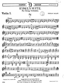 St. Paul's Suite, Op.29 No.2 : Violins I Volume H.118 ; Op.29 No.2 by Holst, Gustav