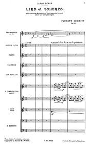 Lied et Scherzo, Op.54 : Score Volume Op.50 by Schmitt, Florent