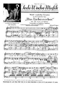 Das Liebesverbot, WWV38 (Die Novize von ... Volume WWV 38 by Wagner, Richard