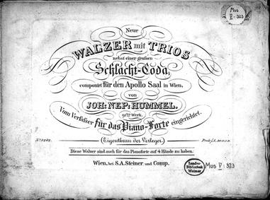 Neue Walzer, Op.91 : Complete Score Volume Op.91 by Hummel, Johann Nepomuk