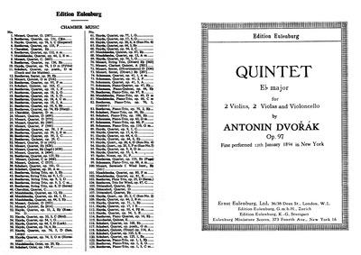 String Quintet No.3, Op.97 : Complete Sc... Volume Op.97, B.180 by Dvořák, Antonín