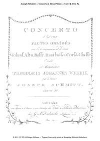 Concerto for 2 Flutes (Concerto à deux F... Volume Op.15 by Schmitt, Joseph