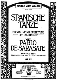 Spanish Dances, Op.22 (Spanische Tänze, ... Volume Op.22 by Sarasate, Pablo de