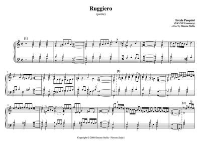 Partite sopra Ruggiero : Complete score by Pasquini, Ercole