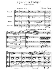 String Quartet No.2, EG 117 : Complete s... Volume EG 117 by Grieg, Edvard