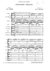 Chanson triste : Complete Score by Duparc, Henri