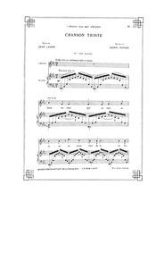 Chanson triste : Complete Score (Origina... by Duparc, Henri