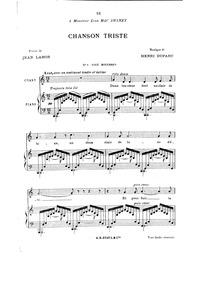 Chanson triste : Complete Score (C major... by Duparc, Henri
