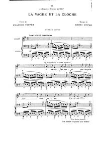 La vague et la cloche : Complete Score (... by Duparc, Henri