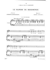 Le manoir de Rosemonde : Complete Score ... by Duparc, Henri