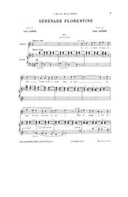 Sérénade florentine : Complete Score (Or... by Duparc, Henri