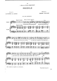 Phidylé : Complete Score (F-sharp; major... by Duparc, Henri