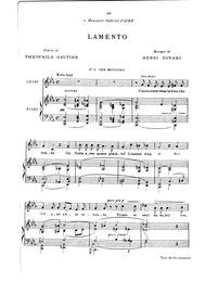 Lamento : Complete Score (C minor: mediu... by Duparc, Henri