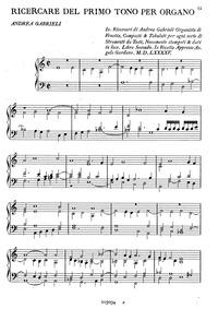 Ricercare del primo tono : Complete Scor... by Gabrieli, Andrea