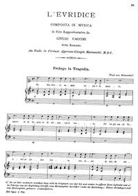 Euridice : Complete Score by Caccini, Giulio
