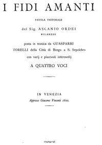 I Fidi Amanti : Complete Score by Torelli, Gasparo