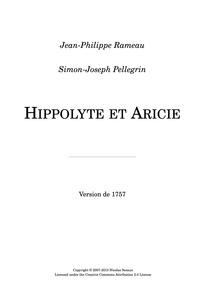 Hippolyte et Aricie (Tragédie en musique... by Rameau, Jean-Philippe