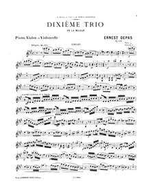 Piano Trio No.10, Op.135 : Violin Volume Op.135 by Depas, Ernest