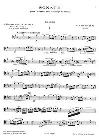 Bassoon Sonata, Op.168 : Bassoon Part (f... Volume Op.168 by Saint-Saëns, Camille