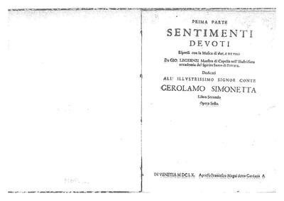 Sentimenti Devoti, Op.6 : Complete parts Volume Op.6 by Legrenzi, Giovanni